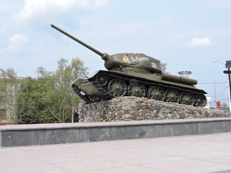 Tank van Wereldoorlog II, Tiraspol, PMR, Moldavië stock afbeelding