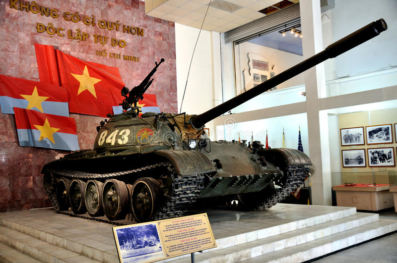 Tank in Vietnam Military History Museum. Its exhibitions present the Vietnamese military history from the first period of founding the country to the Ho Chi Minh stock images