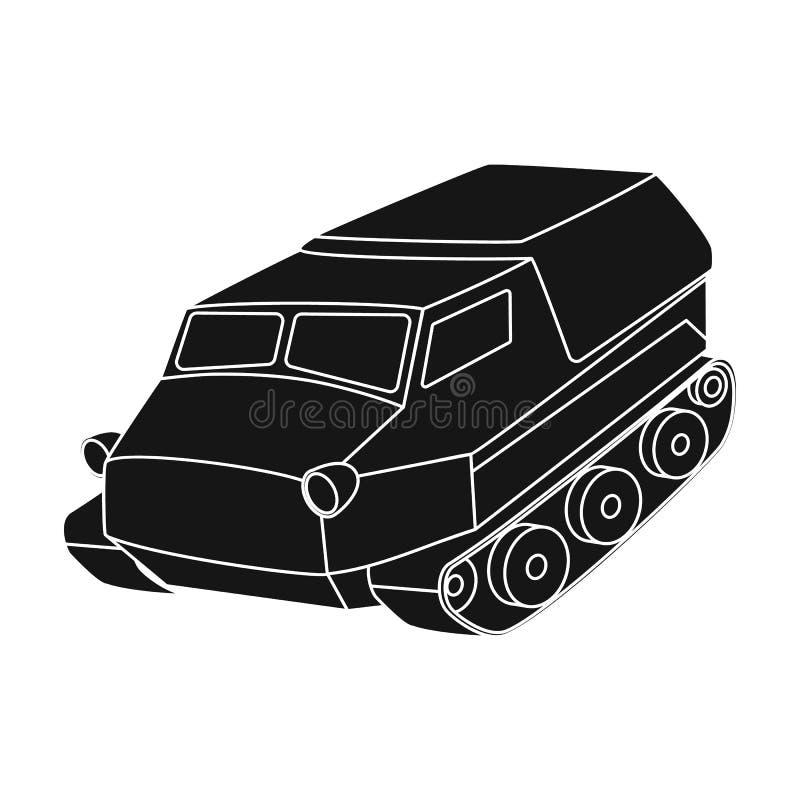 Tank voor de moerassen Caterpillar-vervoer van militair Vervoer enig pictogram in de zwarte voorraad van het stijl vectorsymbool royalty-vrije illustratie