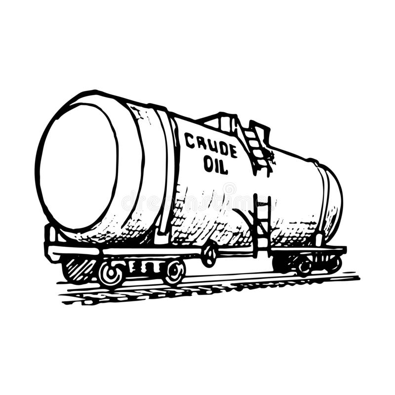 A tank wagon is a special type of railway rolling stock for transportation of liquid and gaseous commodities. stock illustration