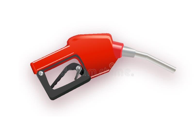 Tanka bensin eller det diesel- vektorrengöringsdukbanret Bränsledysa på slangen av gas, ethanol eller biodiesel, linje konstillus royaltyfri illustrationer