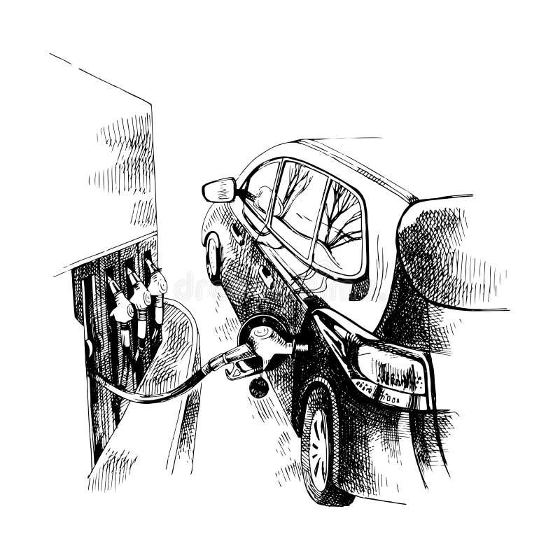 Tanka bensinbränsle vektor illustrationer