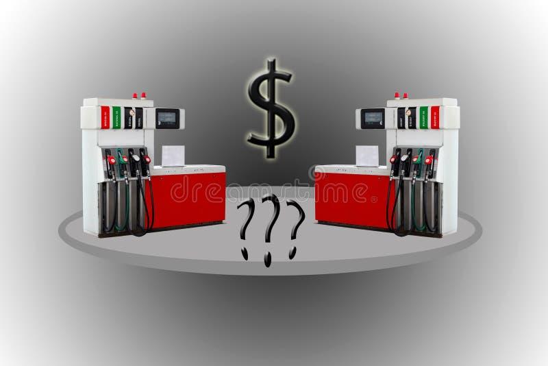 Tanka, bensinutmataren, pumpen, handtag och pelare royaltyfri illustrationer