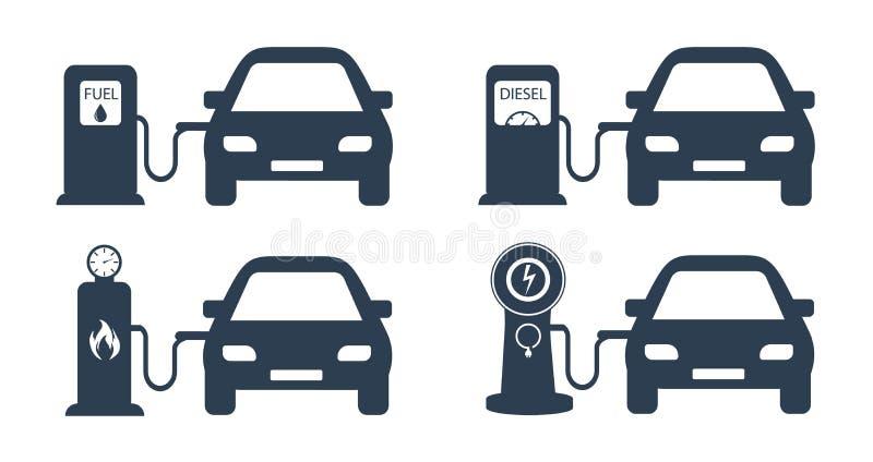 Tanka bilar med olika bränslen Bensin, diesel- bränsle, gas och elkraft som laddar för bilen Tanka för bilar royaltyfri illustrationer