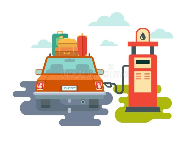 Tanka bilen på bensinstationen vektor illustrationer