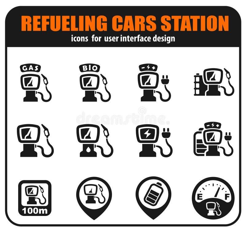Tanka bilstationen stock illustrationer