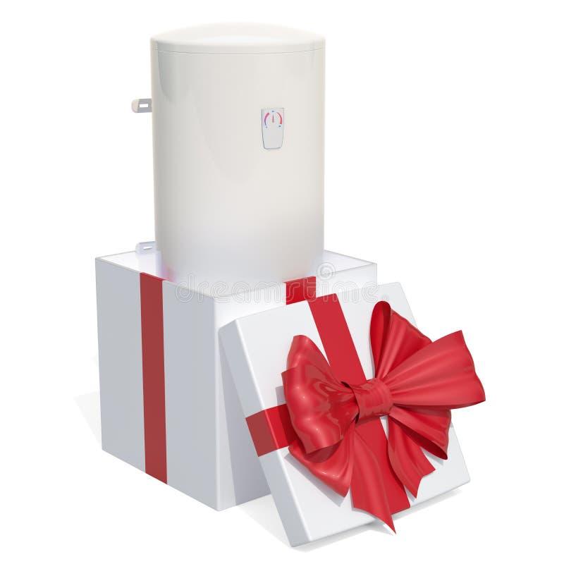 Tanka den elektriska den vattenvärmeapparaten eller kokkärlet inom gåvaasken, gåvaconce stock illustrationer