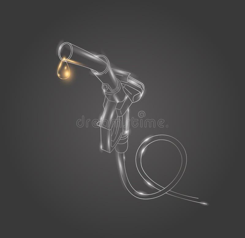 Tanka den linjära illustrationen för gasvapen på den mörka bakgrunden royaltyfri illustrationer
