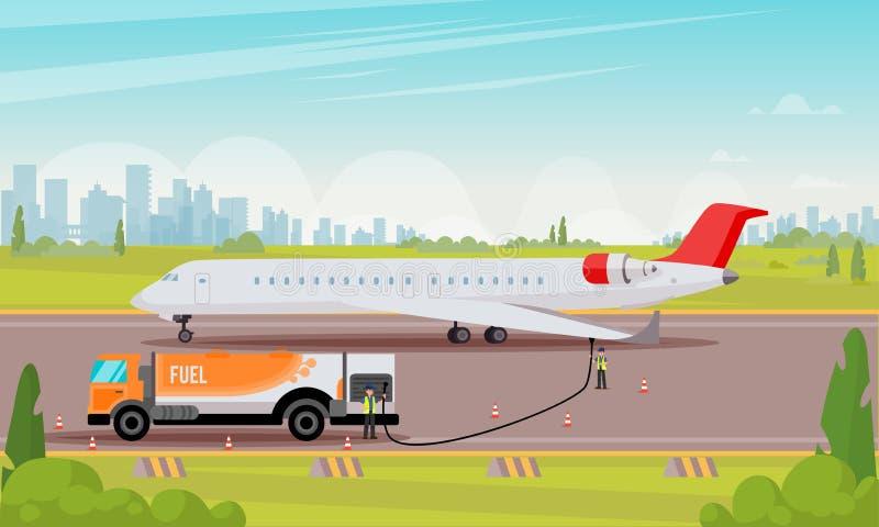 Tanka den plana illustrationen för passagerarflygplan vektor illustrationer