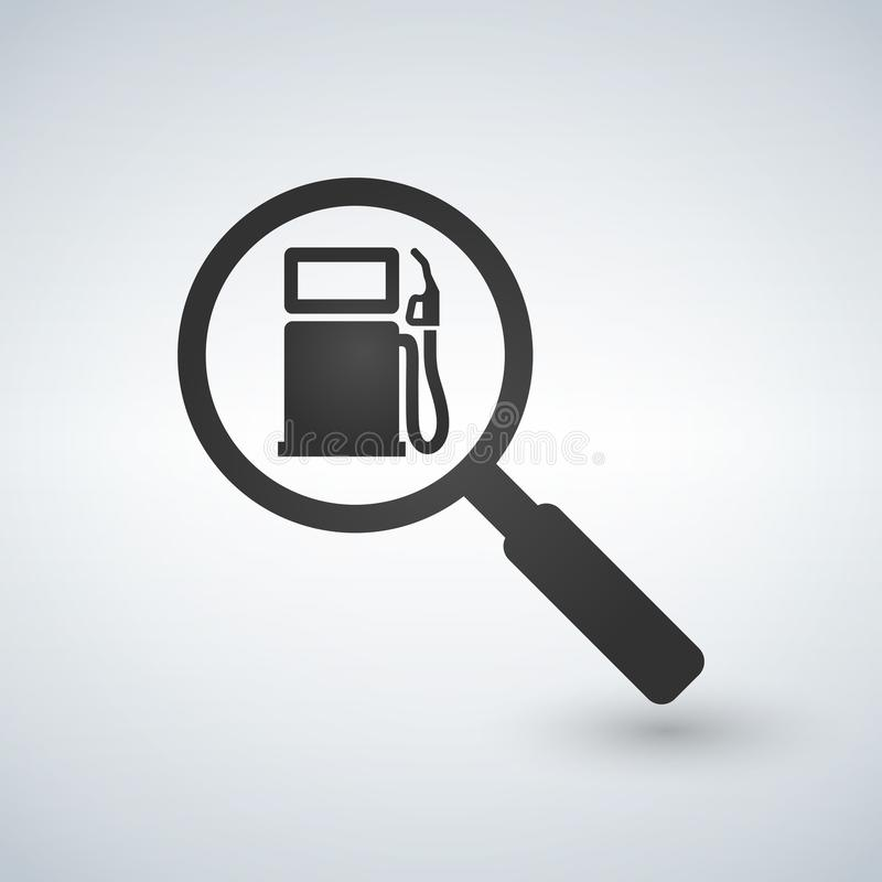 Tanka eller bensinstation i förstoringsglas Sökandebegrepp, illustration stock illustrationer