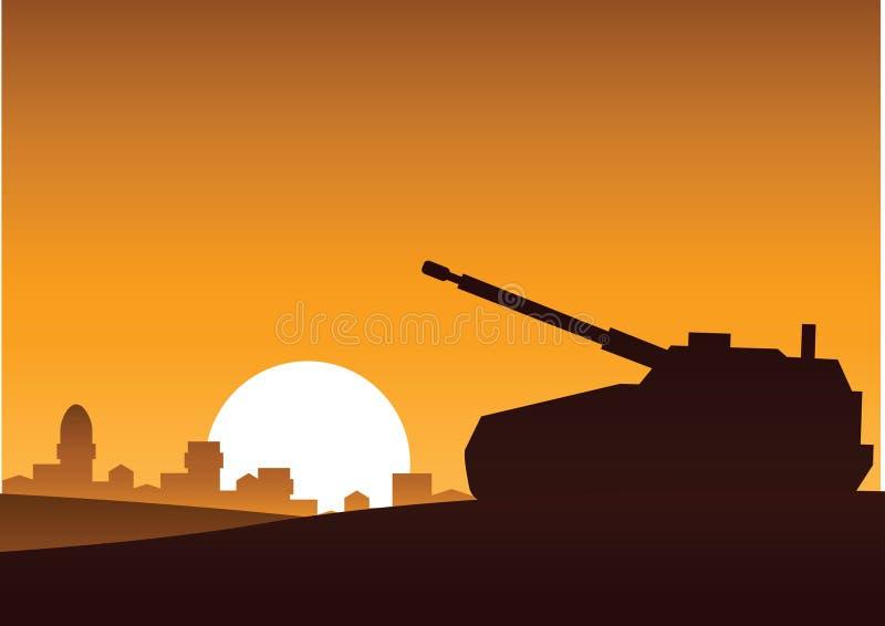 Tanka fortfarande på öken för att anfalla fienden, konturdesignen, by b stock illustrationer