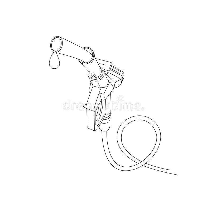 Tanka illustrationen 3d för nozzel för gas den feulling linjära royaltyfri illustrationer