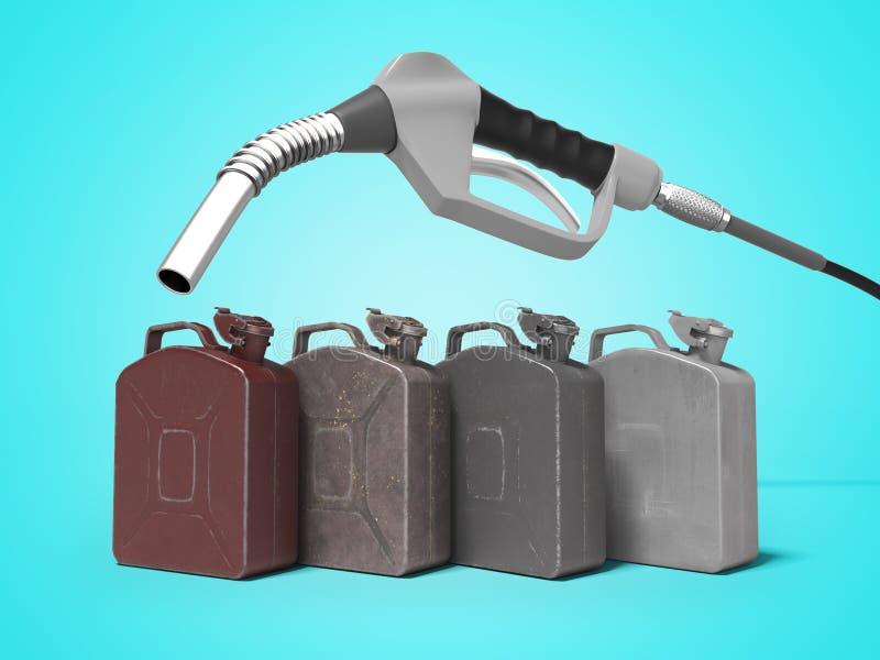 Tanka metall på burk med bensinstationpistolen 3d för att framföra på blå bakgrund med skugga royaltyfri illustrationer