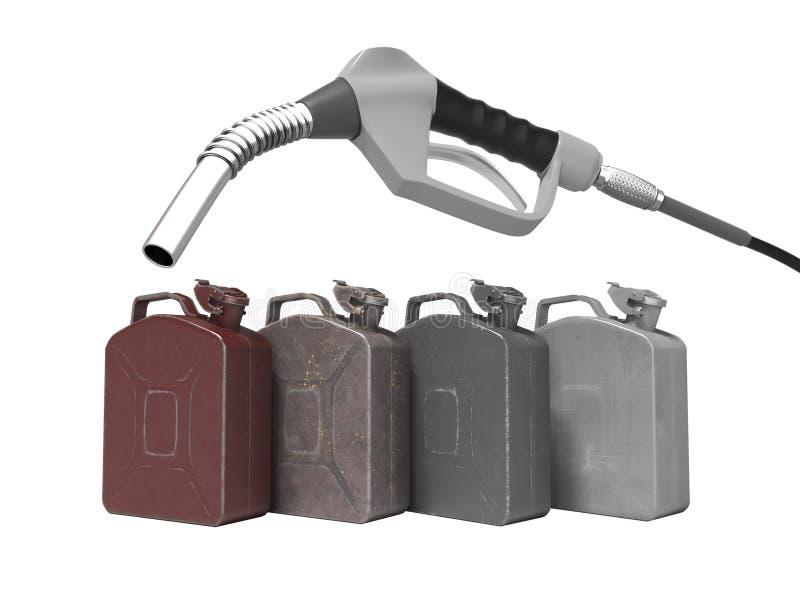 Tanka metall på burk med bensinstationpistolen 3d för att framföra på vit bakgrund ingen skugga vektor illustrationer