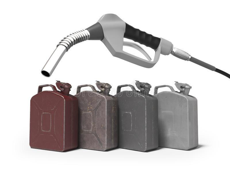 Tanka metall på burk med bensinstationpistolen 3d för att framföra på vit bakgrund med skugga vektor illustrationer