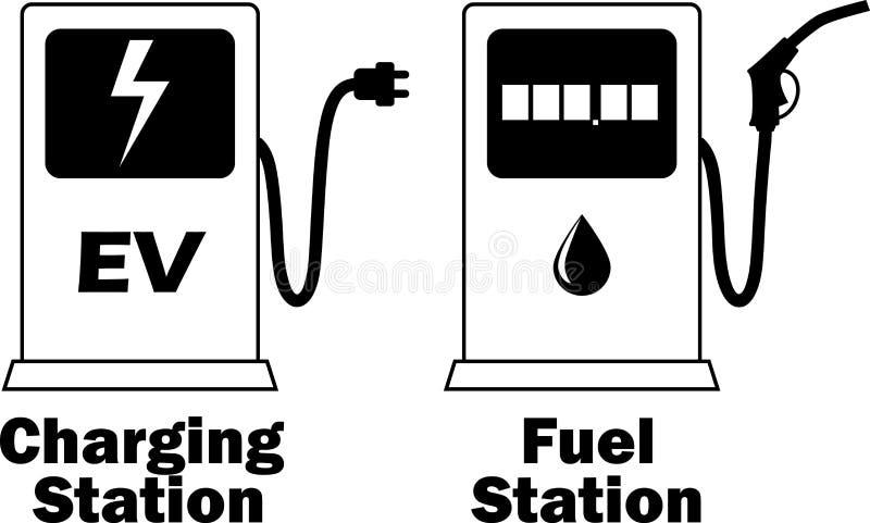 Tanka stationen för uppladdning av av av elektrisk medel och bensin/diesel också vektor för coreldrawillustration stock illustrationer