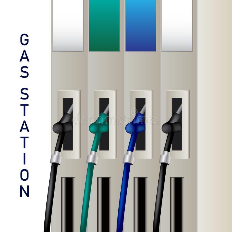 Tanka utmatare- och bränsledysor på en bensinstation för att pumpa husdjuret royaltyfri illustrationer