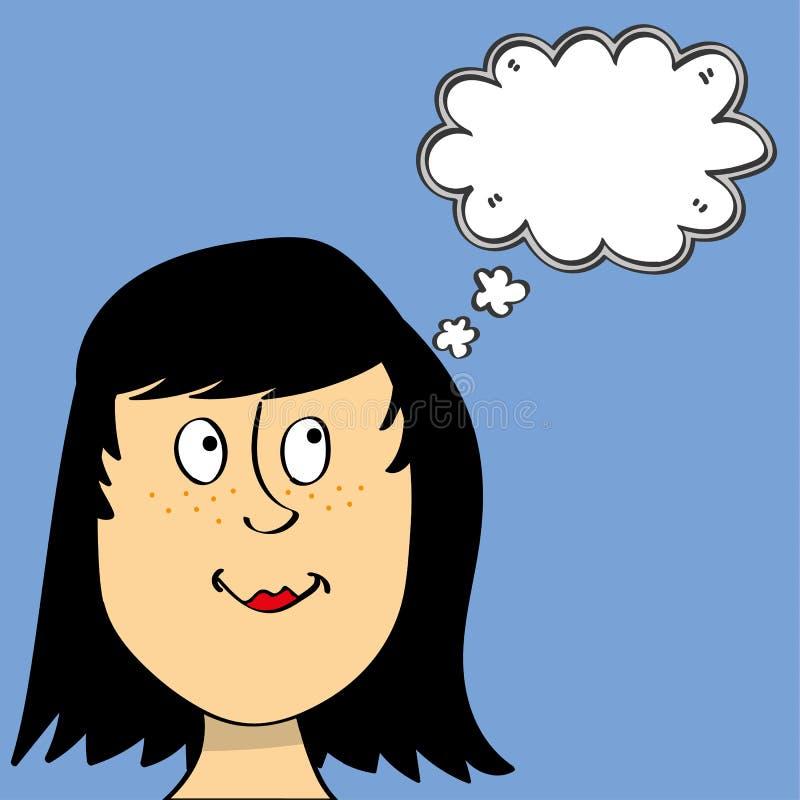 Tankar av en ung kvinna stock illustrationer