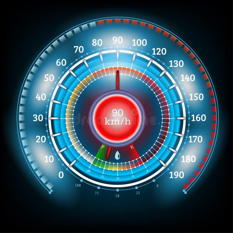 Tankar den skinande hastighetsmätaren för bilrundaabstrakt begrepp med pilindikatorer royaltyfri illustrationer