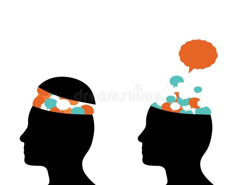 Tankar som kommer ut ur hjärna royaltyfri illustrationer