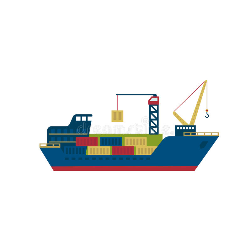 Tanker Cargo Ship with Containers. Vector stock illustration