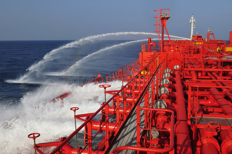 Tanker crude oil carrier ship. Designed for transporting natural gas passing Singapore strait stock photography