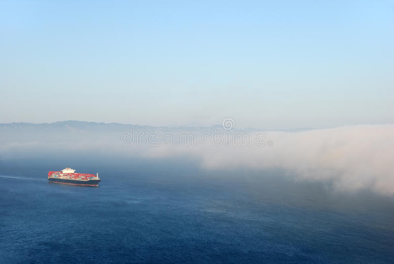 Tanker Entering Fog royalty free stock images