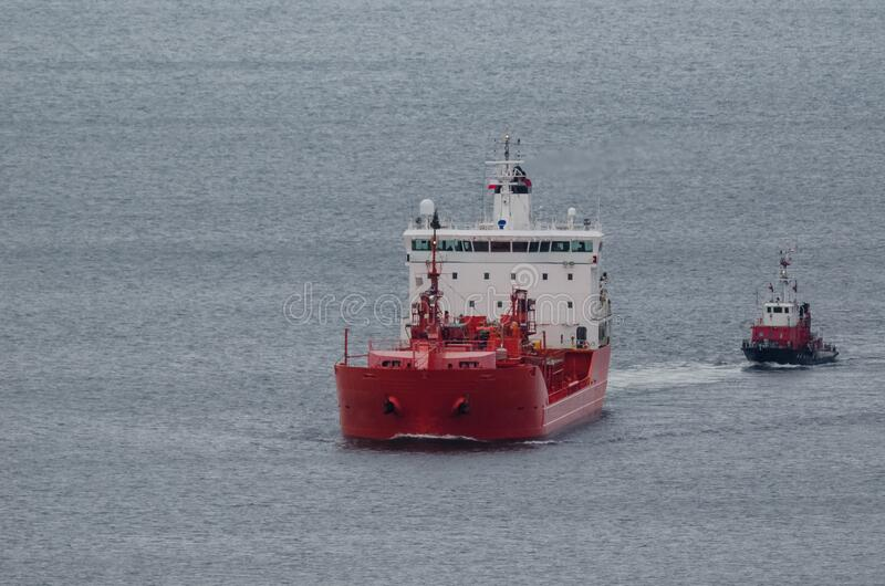 TANKER AND FIREBOAT stock photography