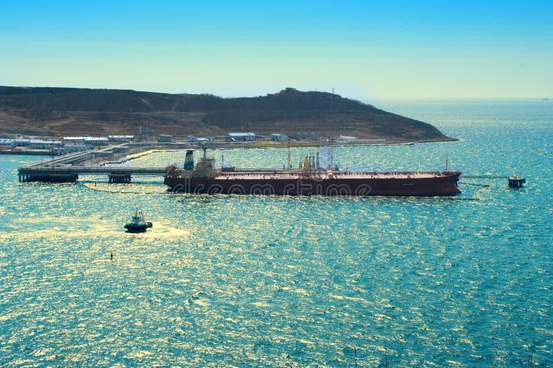 Tanker Loading Oil In Sea Port stock photography