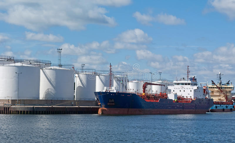Download Tanker By Quayside Storeage Tanks Stock Image - Image of technology, supply: 14234031