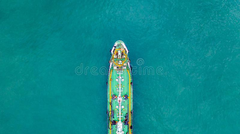 Tanker ship carrying oil and gas in the sea support freight transportation import export business logistic, Aerial view tanker. Ship royalty free stock images