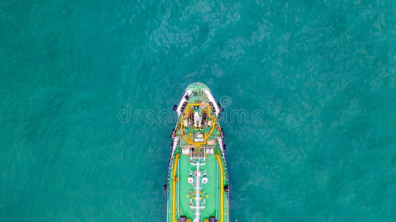 Tanker ship carrying oil and gas in the sea support freight transportation import export business logistic, Aerial view tanker. Ship stock images