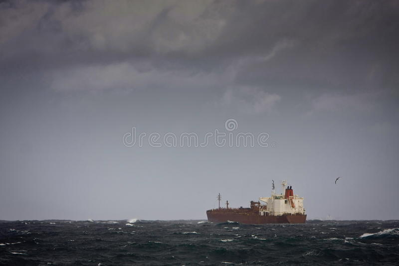Tanker ship on stormy seas