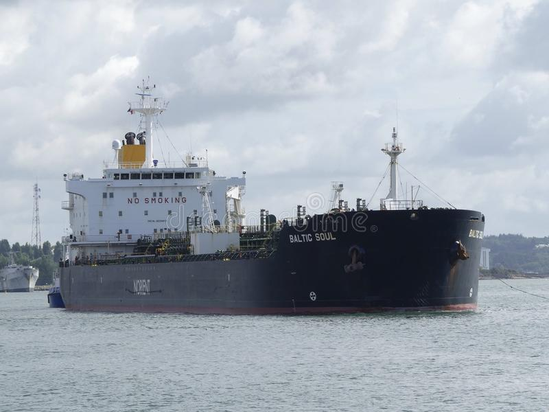 Tanker Ship under maneuvering operations royalty free stock photography
