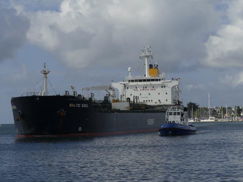 Tanker Ship under maneuvering operations stock image