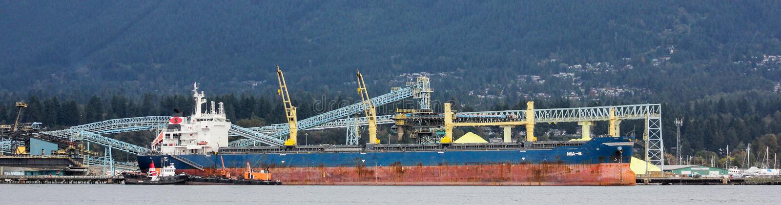 Tanker ship in Vancouver harbour. stock photography