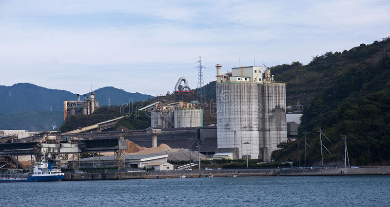 Tanker and Silos in harbour stock photos