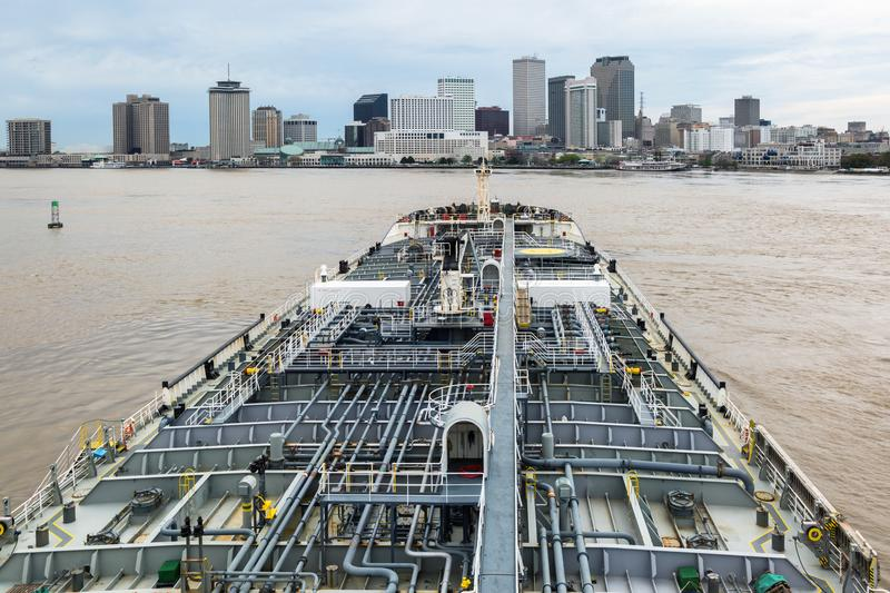Tanker steaming through the Mississippi. Oil tanker steaming through the Mississippi by New Orlean stock image