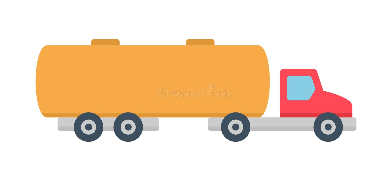 Tanker truck icon, Flat style stock illustration
