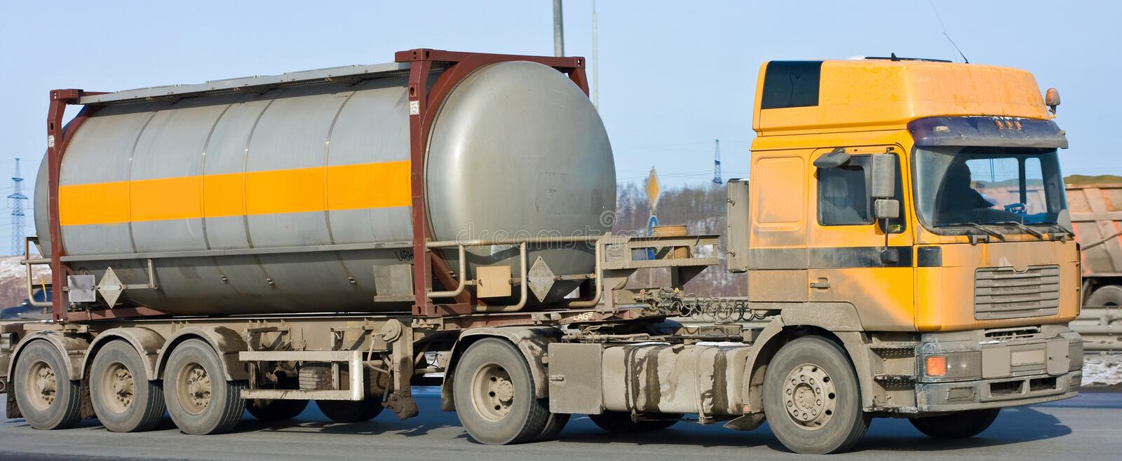 Tanker Truck Moves Chemicals Royalty Free Stock Photography