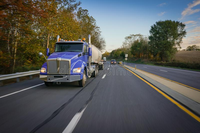 Tanker truck semi tractor on highway royalty free stock images