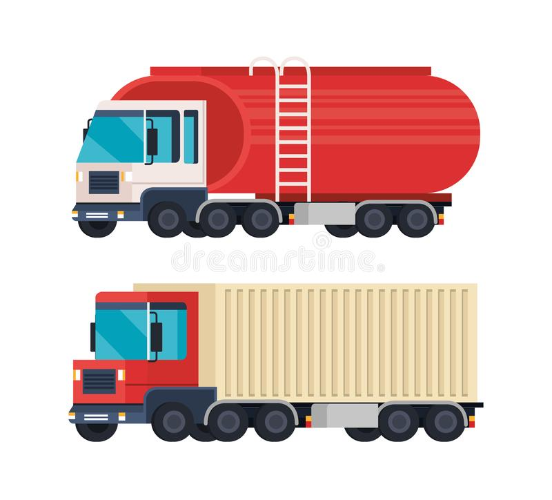 Tanker trucks logistic service vector illustration