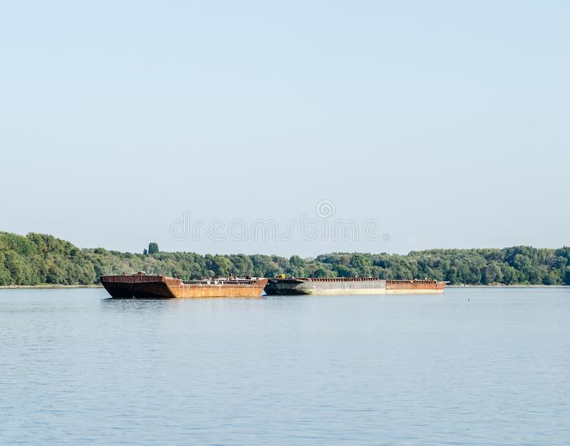 Tankers anchored on the Danube river. stock images