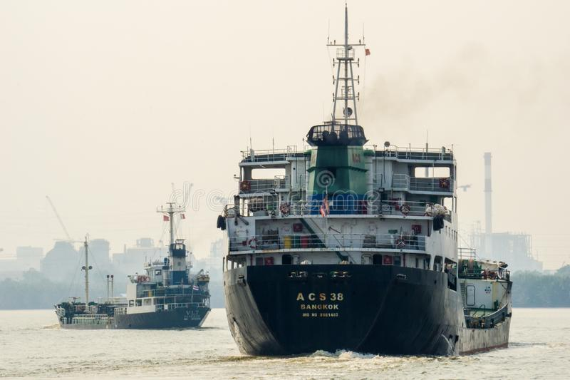 Tankers sail inbound to Chao Phraya river royalty free stock photos