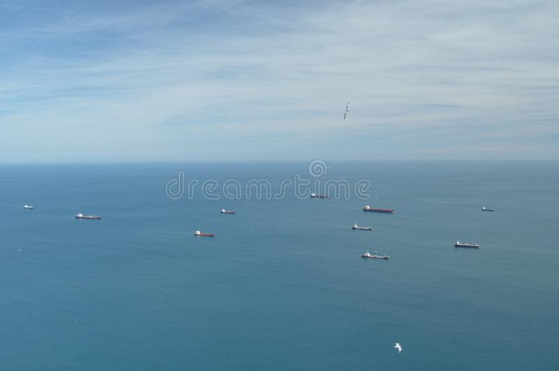 Tankers waiting on the sea before entering the port of Gibraltar stock photography