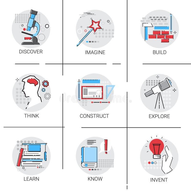 Tankeskapelsebyggande undersöker symbolen för affären för processen för ny idéinspiration den idérika vektor illustrationer