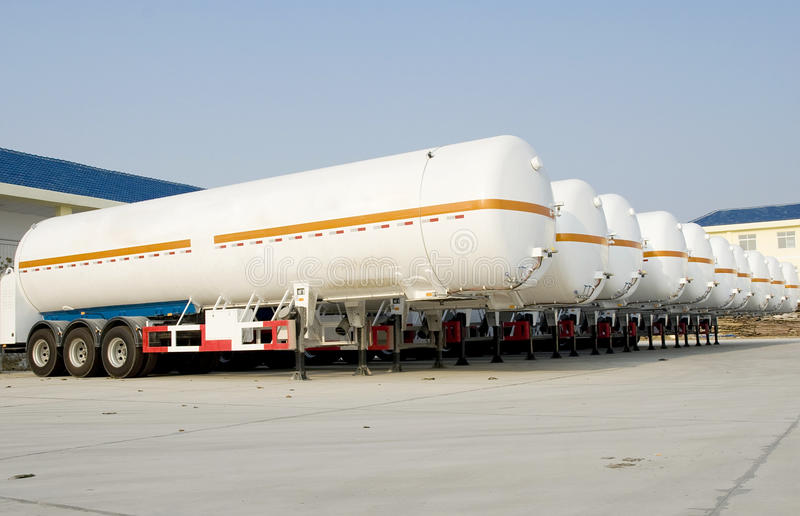 Tanks. For oil or natural gas in trucks stock images