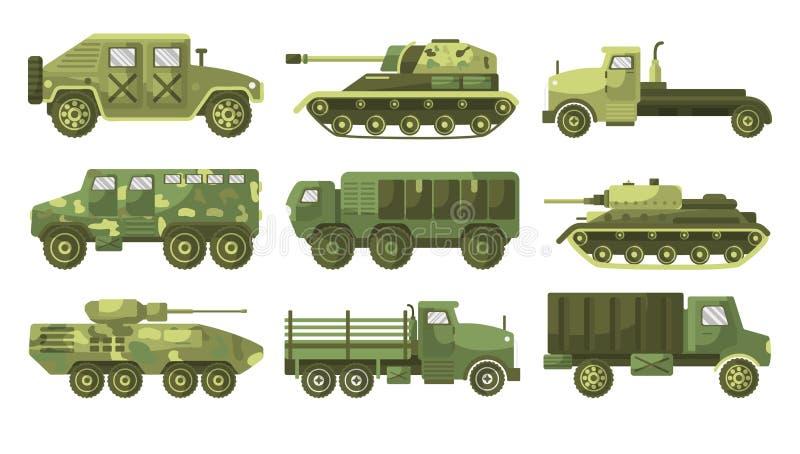 坦克和装甲车迷彩车收集侧视 皇族释放例证