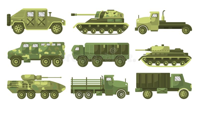 Tanks and armoured trucks camouflage vehicles collection side view. Tanks, armoured trucks collection, side view. Armament mounted in a turret. Army transport royalty free illustration