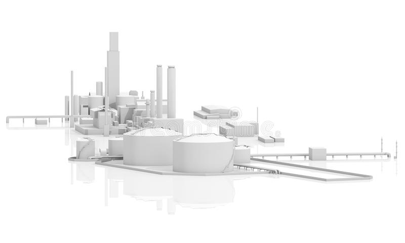 Tanks, chimneys and buildings, 3d. Abstract modern industrial facility. Tanks, chimneys and buildings, 3d model isolated on white with reflections on ground royalty free illustration